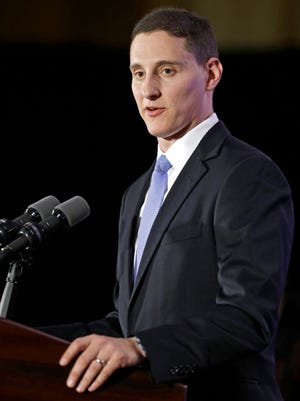 Ohio Treasurer Josh Mandel speaks after winning re-election on Nov. 4, 2014.