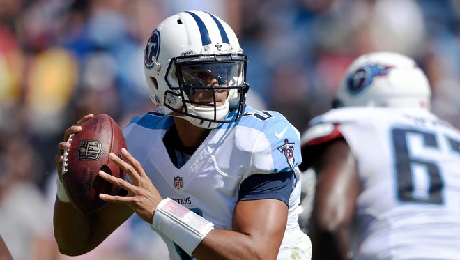 Titans quarterback Marcus Mariota (8) had his worst passer rating of his career on Sunday — 46.8.
