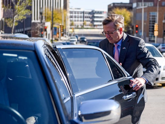 Sioux Falls Mayor Mike Huether gets into a Lyft a few