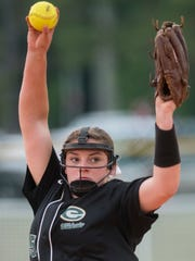 Edgewood's Mary Michael Burnham pitches at the AISA