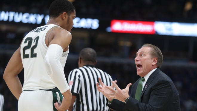 Michigan State coach Tom Izzo talks with Miles Bridges in the second half of MSU's 88-81 loss to Duke on Tuesday.