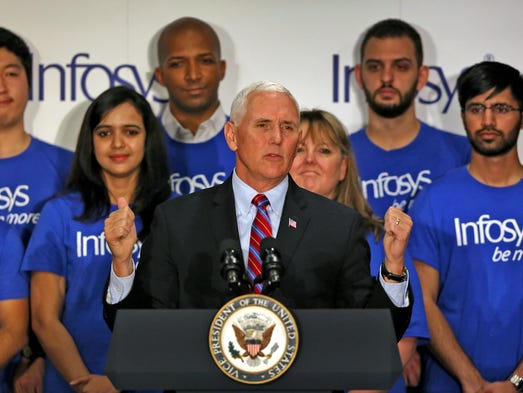 When Mike Pence heard about Infosys' expansion, he 'just had to come by'