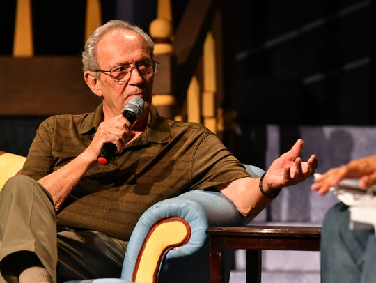 """John A. Torres discusses solving cold cases with former Miami homicide detective Marshall Frank during the """"Where is Brandy Hall?"""" podcast event at Surfside Playhouse in Cocoa Beach."""