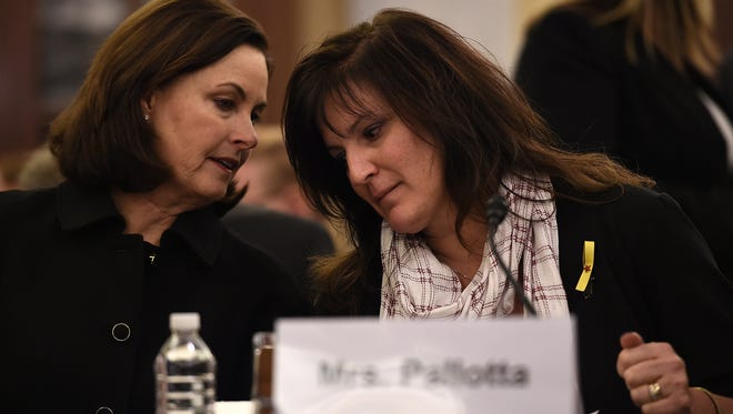 Valerie Pallotta, right, and Susan Selke testified about their veteran sons' deaths from suicide.