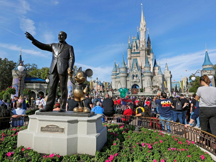 FILE - In this Jan. 9, 2019 file photo, guests watch a show near a statue of Walt Disney and Micky Mouse in front of the Cinderella Castle at the Magic Kingdom at Walt Disney World in Lake Buena Vista, part of the Orlando area in Fla. Magic Kingdom was the best-attended park in 2018 with 20.8 million visitors, followed by Disneyland in California with 18.6 million visitors. (AP Photo/John Raoux, File) ORG XMIT: NYSP501 [Via MerlinFTP Drop]