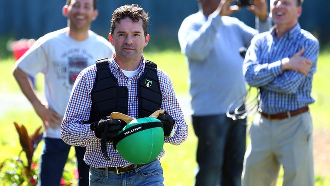 Exaggerator jockey Kent Desormeaux after training in preparation for the 148th running of the Belmont Stakes at Belmont Park. Mandatory Credit: Brad Penner-USA TODAY Sports