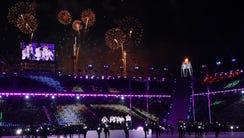 Feb 25, 2018; PyeongChang, South Korea; Fireworks during