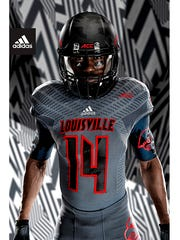 "A full view of U of L's Adidas ""Showtime"" jerseys."
