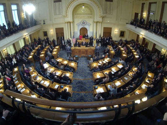 The Assembly Chamber at the Statehouse in Trenton.