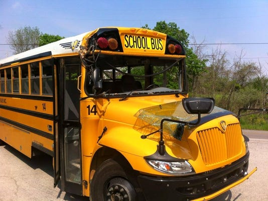 This bus was involved in a crash Wednesday in Jackson Township, police said.