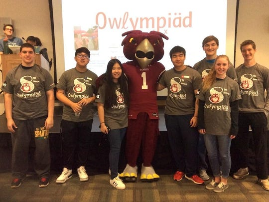 Participating in the OWLympiad math competition at Temple University are St. Mark's students, from left, Nick Kayatta, Rex Zhu, Amy Gao, Vitaly Chen, Drew Koense, Rachel Stai, and David Suddard.