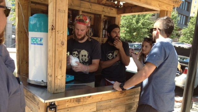 Jamie Williams and Sean Conn, owners of the Nomadik Few food stand are bringing gourmet shaved ice to Greenville.