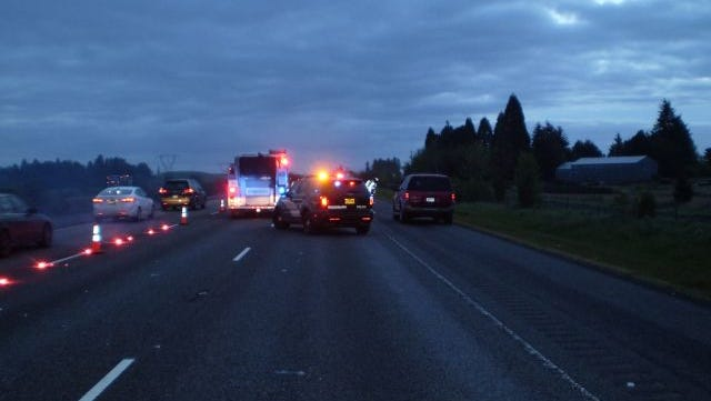 Police respond to fatal crash on Interstate 5 north of Woodburn Friday morning.