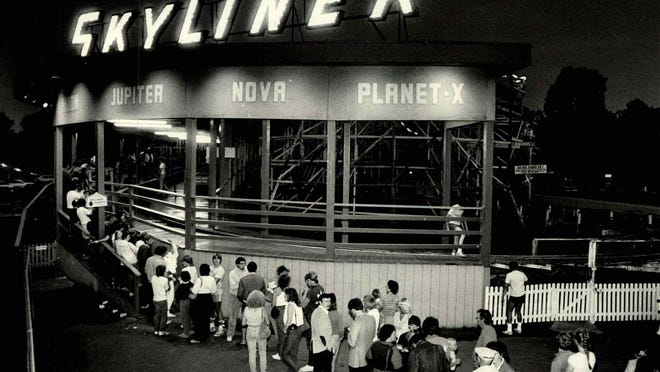 A long line of thrill-seekers wait for their turn to ride the Skyliner, Roseland Park's popular rollercoaster.