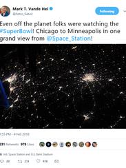 A tweet from Mark Vande Hei from the International