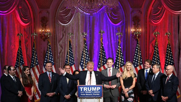 Donald Trump speaks on March 15, 2016 in Palm Beach,
