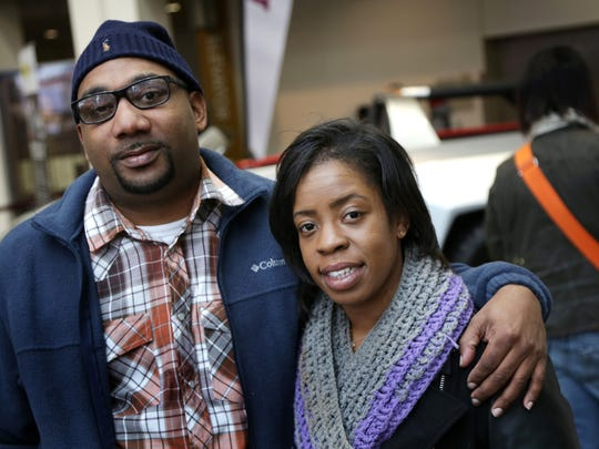 Alicia Baldwin, 30 and boyfriend Chuck Bailey, 30 both of Southfield, pose for a photograph at Cobo Center in Detroit on Monday, January 18, 2016. Romain Blanquart/ Detroit Free Press