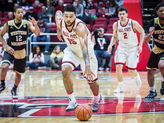 Ball State's Franko House break away from Western Michigan's defense during their game at Worthen Arena Saturday, Jan. 28, 2017.