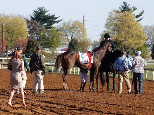 Elate is checked after being eased at the top of the stretch and not finishing the Grade I Ashland Stakes on April 8, 2017, at Keeneland in Lexington, Kentucky. Elate recovered to win two Grade I races last season and is the morning-line favorite for Saturday's Grade II, $750,000 Delaware Handicap at Delaware Park.