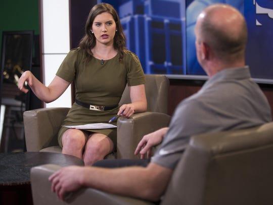 Meghan McKeown of WISH TV interviews Purdue football