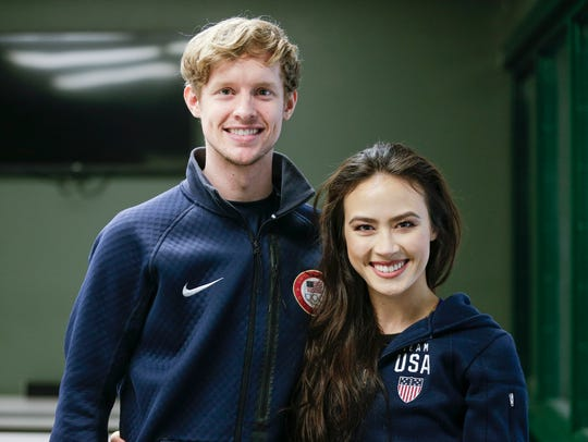 Evan Bates and Madison Chock at the Novi Ice Arena on Jan. 31.
