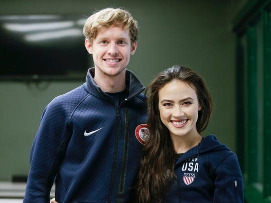 Evan Bates and Madison Chock at the Novi Ice Arena on Jan. 31.