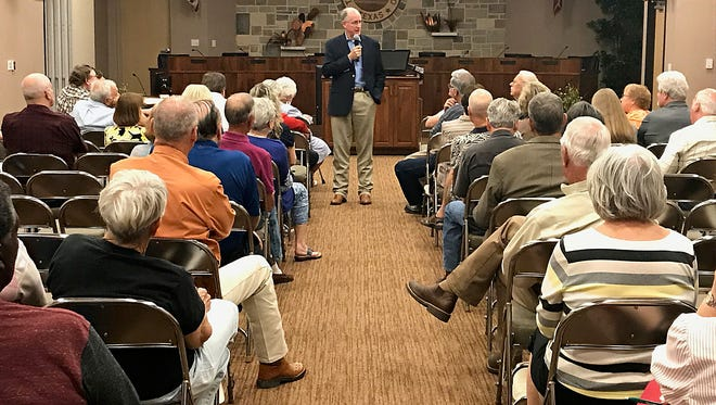 U.S. Rep. Mike Conaway speaks at a town hall meeting at the McNease Convention Center Sept. 19, 2017.
