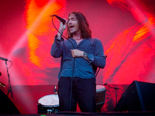 "Brandon Boyd, lead singer for the rock band Incubus, performs onstage at the 7th annual Shaky Knees Music Festival in Atlanta. Incubus will play the Ryman Auditorium on Nov. 27 during their tour marking 20 years since their breakthrough album, ""Make Yourself."""