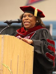Delaware State University President Wilma Mishoe addresses the Early College High School's first commencement ceremony.