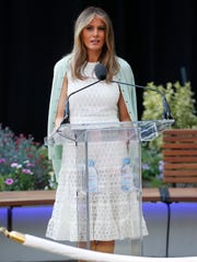 First lady Melania Trump speaks during the ribbon cutting