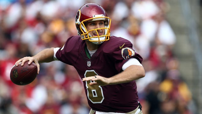 Quarterback Kirk Cousins #8 of the Washington Redskins drops back to pass in the second quarter of a game against the Tampa Bay Buccaneers at FedExField on October 25, 2015 in Landover, Maryland.