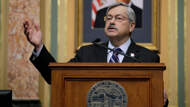 Iowa Gov. Terry Branstad delivers his annual Condition of the State address before a joint session of the Iowa Legislature Jan. 12, 2016, at the Statehouse in Des Moines.