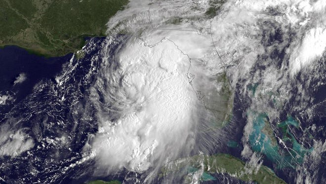 UNITED STATES - SEPTEMBER 1: In this NOAA handout image, taken by the GOES satellite at 1315 UTC shows  Tropical Storm Hermine gathering strength in the Gulf of Mexico just west of Florida on September 1, 2016. According to NOAA's National Hurricane Center, Tropical Storm Hermine is located about 195 miles south-southwest of Apalachicola, Florida and is heading north-northeast at a speed of approximately 12 miles per hour. Hurricane warnings have been issued for parts of Florida's Gulf Coast as Hermine is expected to make landfall as a Category 1 hurricane. (Photo by NOAA via Getty Images)