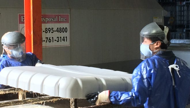 Workers at the plant drained sometimes hazardous and unknown chemicals into a container, causing dangerous reactions.
