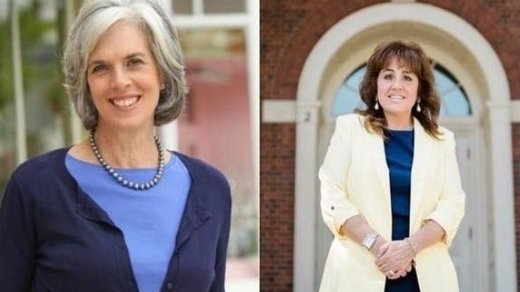 Katherine Clark (left) and Caroline Colarusso (right) participated in a virtual forum on Oct. 13.