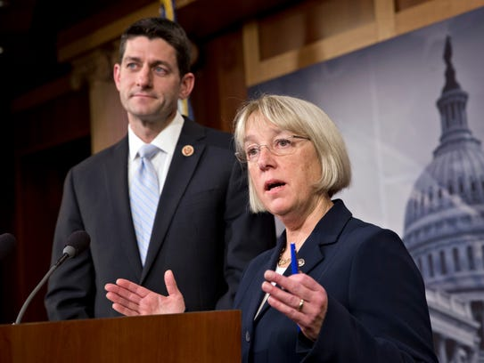 House Budget Committee Chairman Paul Ryan, R-Wis., left, and Senate Budget Committee Chairwoman Patty Murray, D-Wash., announce a tentative agreement between Republican and Democratic negotiators on a government spending plan, at the Capitol in Washington, Tuesday, Dec. 10, 2013. A budget agreement, between Republicans and Democrats. No threats to repeal this or shut down that. Gridlock, it appeared, had taken a holiday in the bitterly polarized, Republican-run House. But across the Capitol, the high-minded Senate remains in the grip of partisan warfare as Republicans launch an around-the-clock talkathon in response to Democratic curbs on the GOP?s power to block presidential nominations. (AP Photo/J. Scott Applewhite)