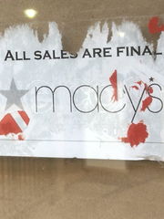 A sign at the former Burlington Macy's store announces