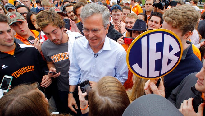 Republican presidential candidate Jeb Bush greets supporters in Knoxville, Tenn., earlier this month.  (Wade Payne, AP)