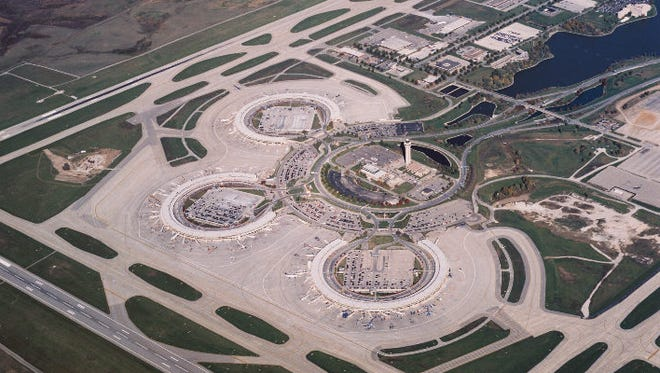 An undated aerial view of Kansas City International Airport.