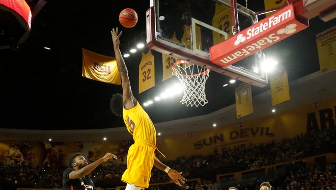 ASU's De'Quon Lake (35) jumps up to try and grab an alley-oop against Pacific during the first half at Wells Fargo Arena on December 22, 2017 in Tempe, Ariz.