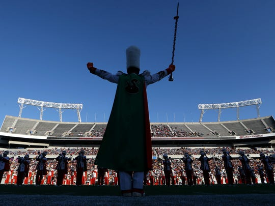FAMU presents its band as they share the halftime celebration with Bethune-Cookman for the Florida Classic at Camping World Stadium on Nov. 19, 2016 in Orlando, Fla. The band is set to reveal their new uniforms for this year's game on Saturday.