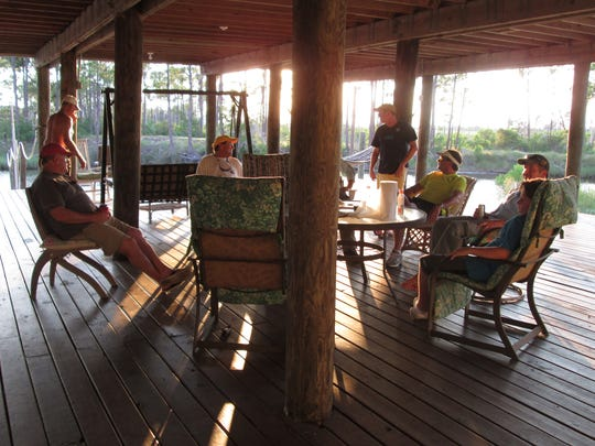 The lower deck is a favorite hangout for Cat Island houseguests.