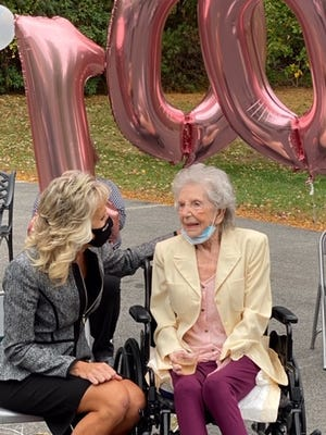 June Gray celebrated her 100th anniversary with Mayor Shaunna O'Connell, her friends and family at The Arbors Assisted Living facility in Taunton on Friday, Oct. 2, 2020.