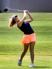Oakland's Emma Tenpenny tees off at Indian Hills during