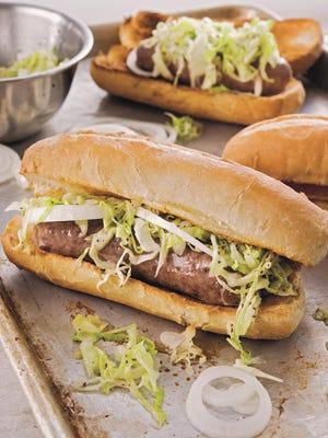 Milwaukee Beer-Braised Bratwurst Sandwich with Pittsburgh-Style Slaw. 2015.