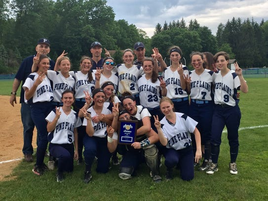 The Pine Plains softball team poses after winning the