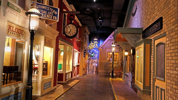 """A view of Chestnut St. during a sneak peek at the new """"Streets of Old Milwaukee"""" exhibit at the Milwaukee Public Museum."""