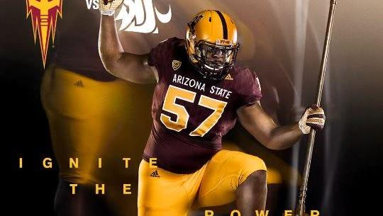 Arizona State is wearing its Sparky helmets for Saturday's game.