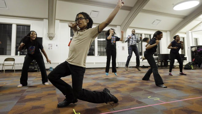 A 2014 photo of Javon Jones performing with the Mosaic Youth Theater in Detroit.