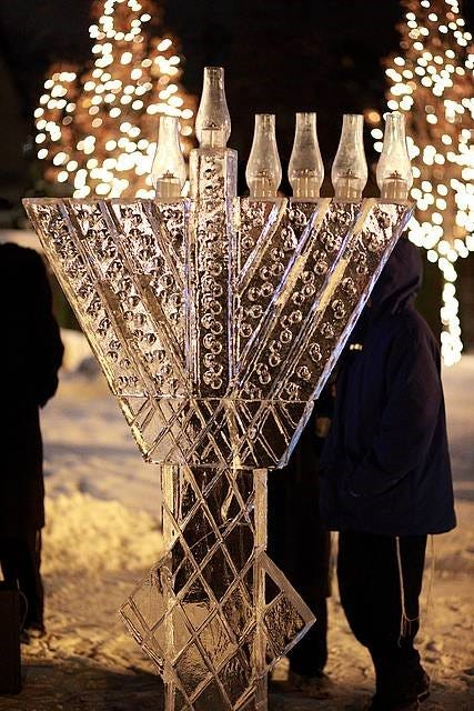 & Ice sculpture menorah lighting azcodes.com